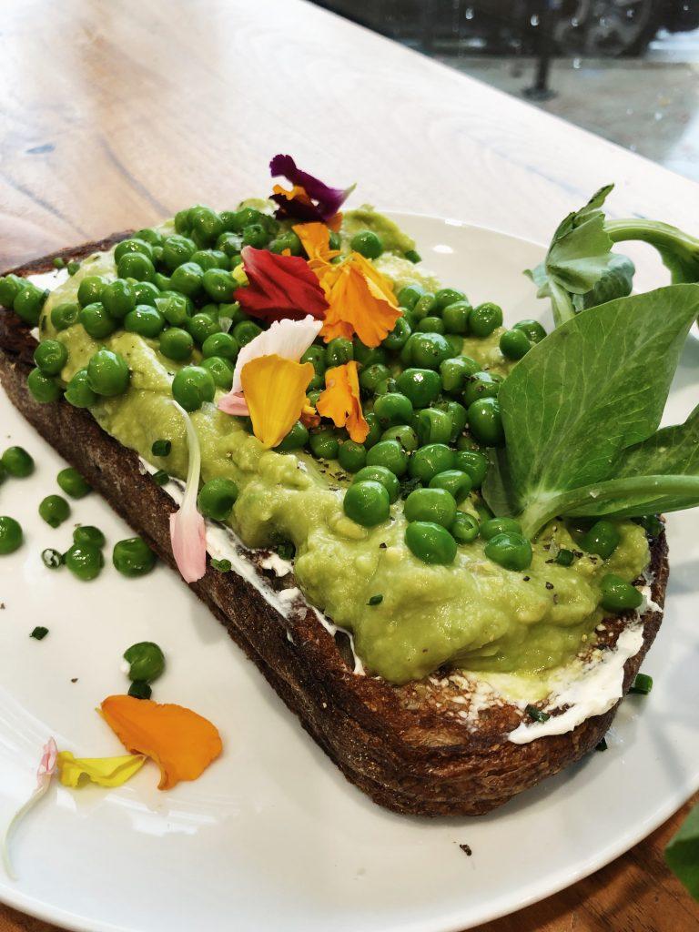 avocado toast at a café in Los Angeles